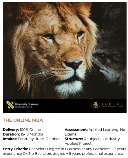 The Online MBA from Ducere & University...