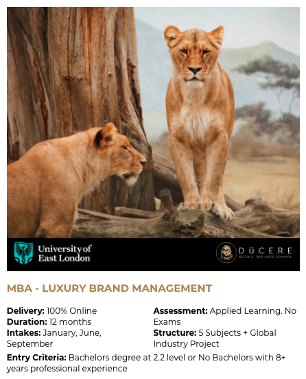 The MBA, Luxury Brand Management from Du...
